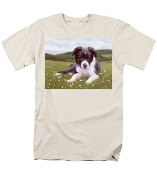 Border Collie Puppy Painting Men's T-Shirt  (Regular Fit) by Rachel Stribbling