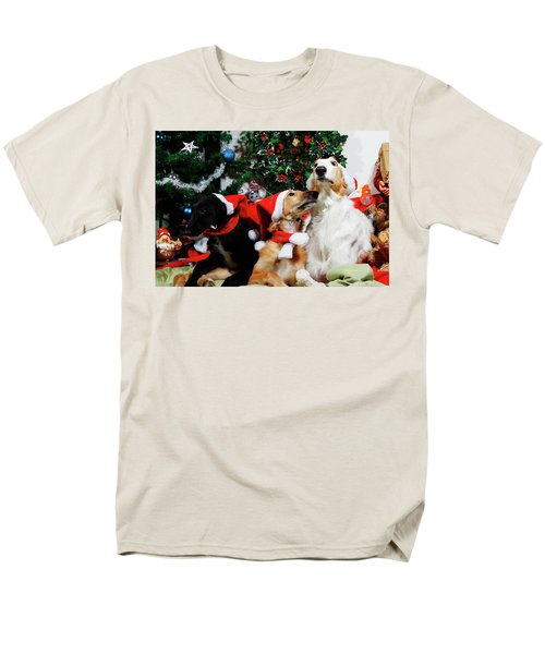 Borzoi Hounds Dressed As Father Christmas Men's T-Shirt  (Regular Fit) by Christian Lagereek