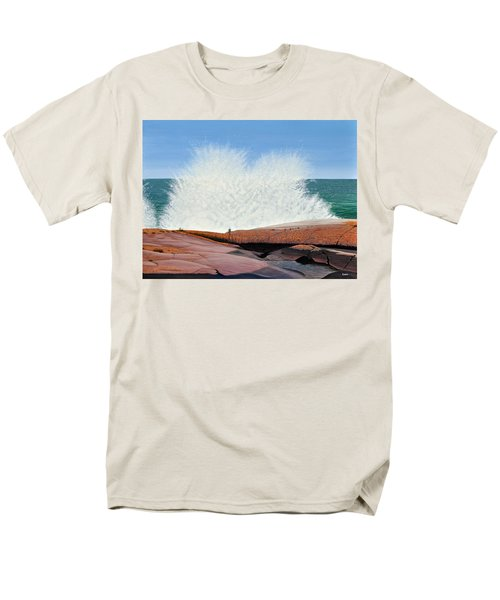 Men's T-Shirt  (Regular Fit) featuring the painting Breakers On Georgian Bay by Kenneth M  Kirsch