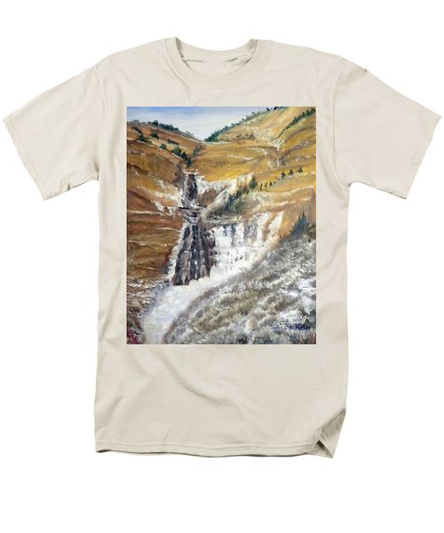 Men's T-Shirt  (Regular Fit) featuring the painting Bridal Veil Falls In Winter by Sherril Porter
