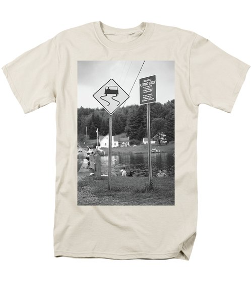 Men's T-Shirt  (Regular Fit) featuring the photograph Brookfield, Vt - Floating Bridge 2 Bw by Frank Romeo