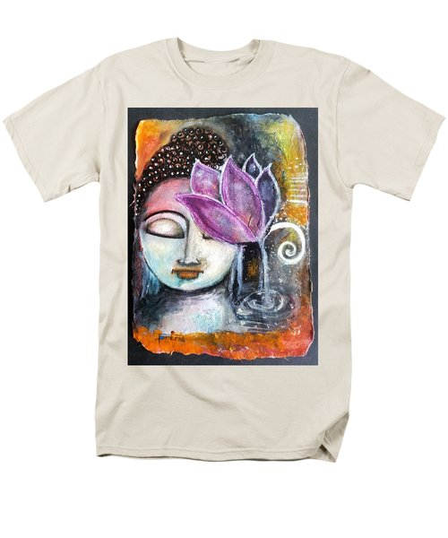 Men's T-Shirt  (Regular Fit) featuring the mixed media Buddha With Torn Edge Paper Look by Prerna Poojara