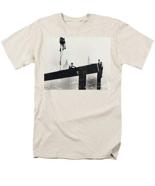 Building The Empire State Building Men's T-Shirt  (Regular Fit) by LW Hine