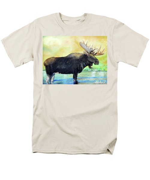 Men's T-Shirt  (Regular Fit) featuring the painting Bull Moose In Mid Stream by Sherril Porter