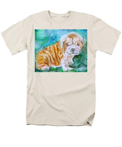Men's T-Shirt  (Regular Fit) featuring the painting Bulldog Cub  - Watercolor Portrait by Fabrizio Cassetta