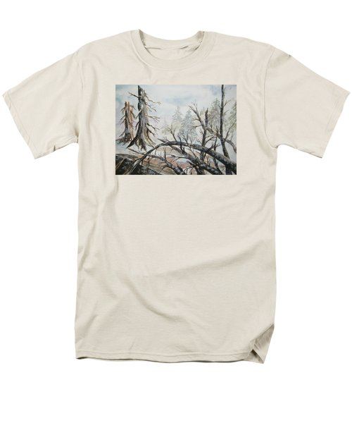 Men's T-Shirt  (Regular Fit) featuring the painting Burned Forest In The Snow by Ellen Levinson