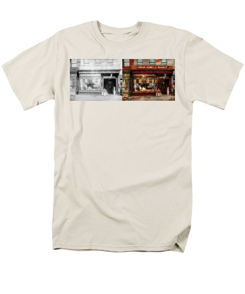 Men's T-Shirt  (Regular Fit) featuring the photograph Butcher - Meat Priced Right 1916 - Side By Side by Mike Savad