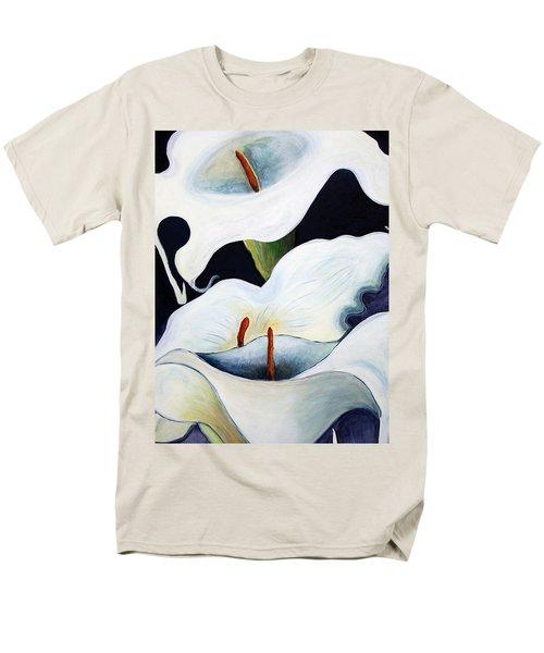 Men's T-Shirt  (Regular Fit) featuring the painting Calla Lilies.. by Jolanta Anna Karolska