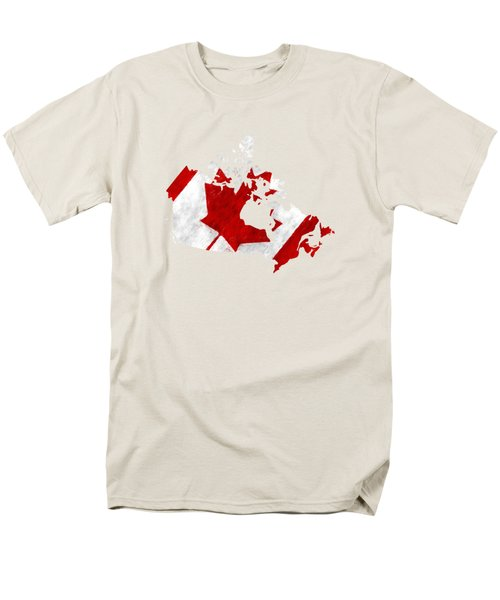 Canada Map Art With Flag Design Men's T-Shirt  (Regular Fit) by World Art Prints And Designs