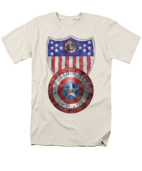 Captain America Shields On Gold  Men's T-Shirt  (Regular Fit) by Georgeta Blanaru