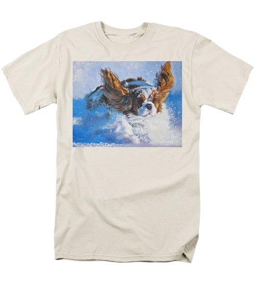 Cavalier King Charles Spaniel Blenheim In Snow Men's T-Shirt  (Regular Fit) by Lee Ann Shepard