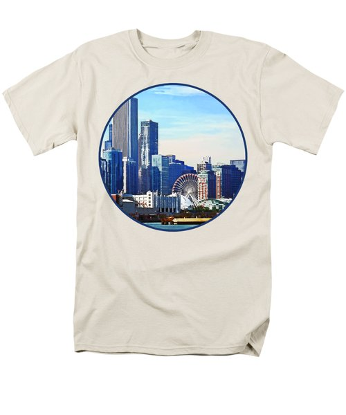 Chicago Il - Chicago Skyline And Navy Pier Men's T-Shirt  (Regular Fit) by Susan Savad