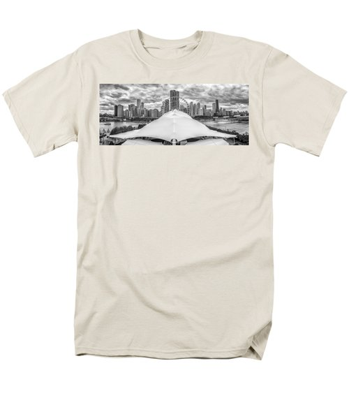 Men's T-Shirt  (Regular Fit) featuring the photograph Chicago Skyline From Navy Pier Black And White by Adam Romanowicz