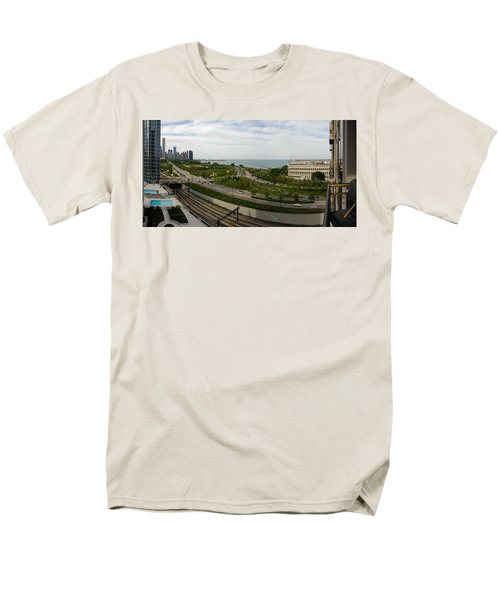 Chicago Skyline Showing Monroe Harbor Men's T-Shirt  (Regular Fit) by Michael Bessler