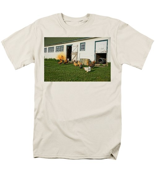 Men's T-Shirt  (Regular Fit) featuring the photograph Chickens By The Barn by Steven Clipperton