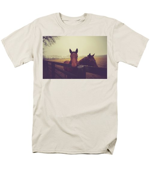 Men's T-Shirt  (Regular Fit) featuring the photograph Christmas Horses by Shane Holsclaw