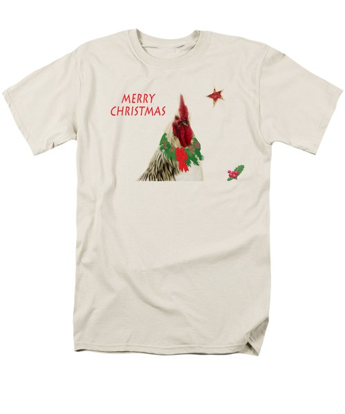 Christmas Rooster Tee-shirt Men's T-Shirt  (Regular Fit) by Donna Brown