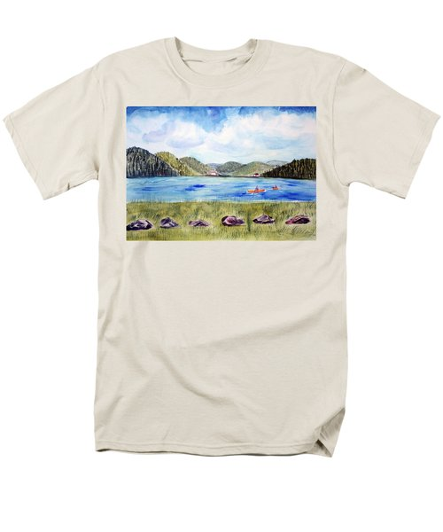 Men's T-Shirt  (Regular Fit) featuring the painting Chrystal Lake  Barton Vt  by Donna Walsh
