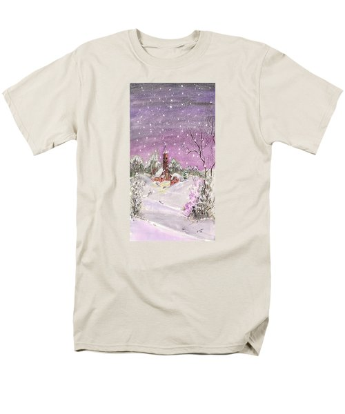 Men's T-Shirt  (Regular Fit) featuring the digital art Church In The Snow by Darren Cannell