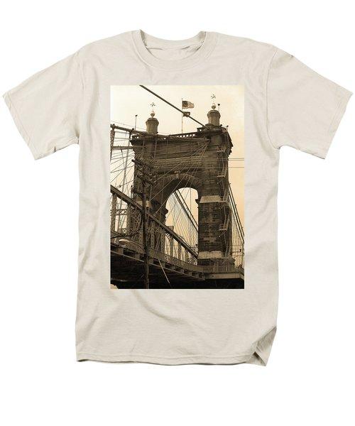 Cincinnati - Roebling Bridge 4 Sepia Men's T-Shirt  (Regular Fit) by Frank Romeo