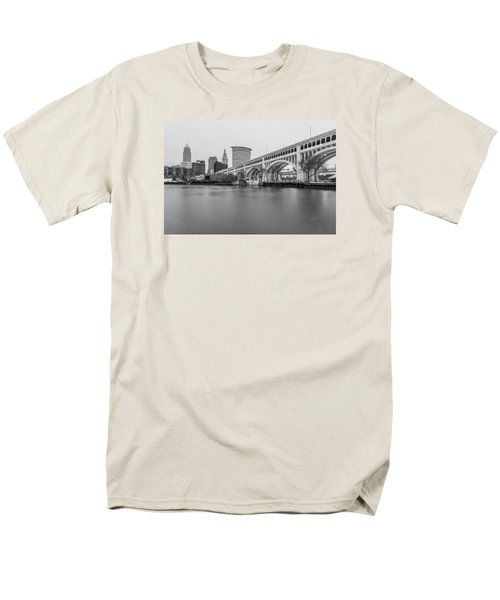 Cleveland Skyline In Black And White  Men's T-Shirt  (Regular Fit) by John McGraw