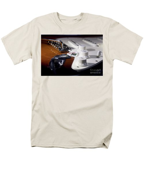 Men's T-Shirt  (Regular Fit) featuring the photograph Close Up Guitar by MGL Meiklejohn Graphics Licensing