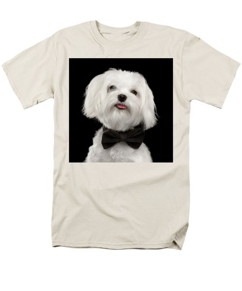 Closeup Portrait Of Happy White Maltese Dog With Bow Looking In Camera Isolated On Black Background Men's T-Shirt  (Regular Fit) by Sergey Taran