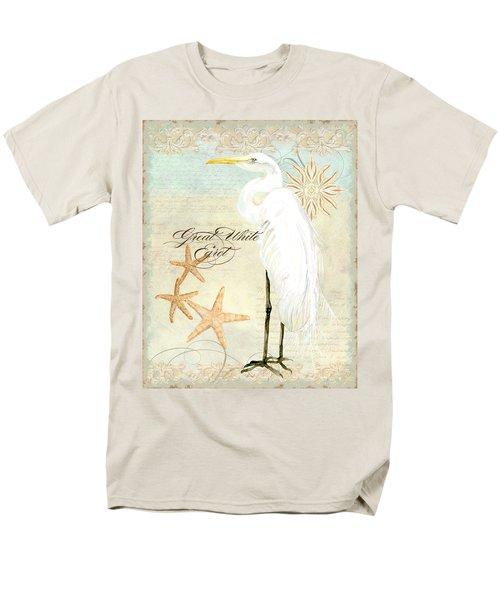 Coastal Waterways - Great White Egret 3 Men's T-Shirt  (Regular Fit) by Audrey Jeanne Roberts