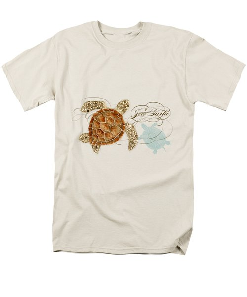 Coastal Waterways - Green Sea Turtle Rectangle 2 Men's T-Shirt  (Regular Fit) by Audrey Jeanne Roberts