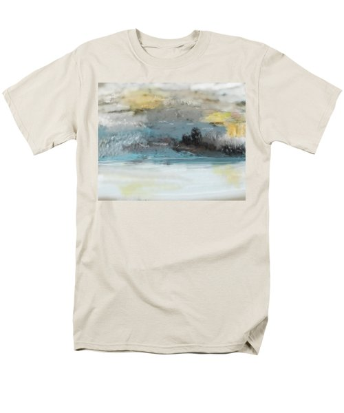 Cold Day Lakeside Abstract Landscape Men's T-Shirt  (Regular Fit)