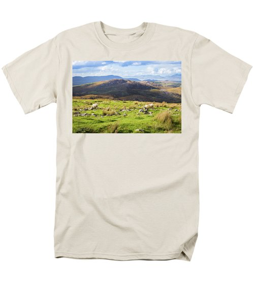 Men's T-Shirt  (Regular Fit) featuring the photograph Colourful Undulating Irish Landscape In Kerry With Grazing Sheep by Semmick Photo