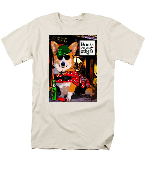 Men's T-Shirt  (Regular Fit) featuring the digital art Corgi - Drinks Well With Others by Kathy Kelly