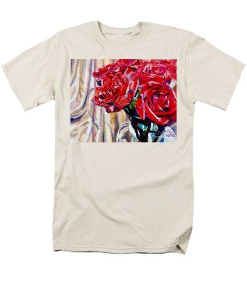 Men's T-Shirt  (Regular Fit) featuring the painting Crimson  Petals by Rebecca Glaze