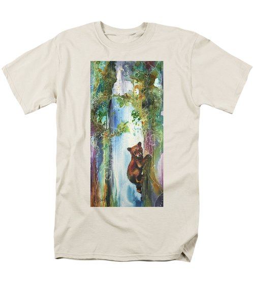 Men's T-Shirt  (Regular Fit) featuring the painting Cub Bear Climbing by Christy Freeman