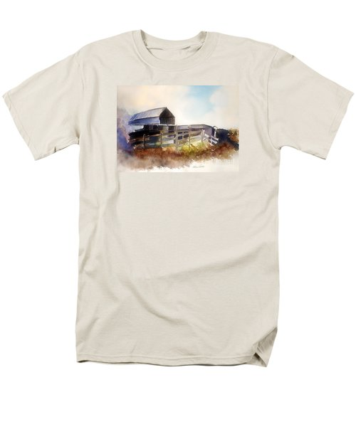 Men's T-Shirt  (Regular Fit) featuring the painting Dad' Farmhouse by Allison Ashton