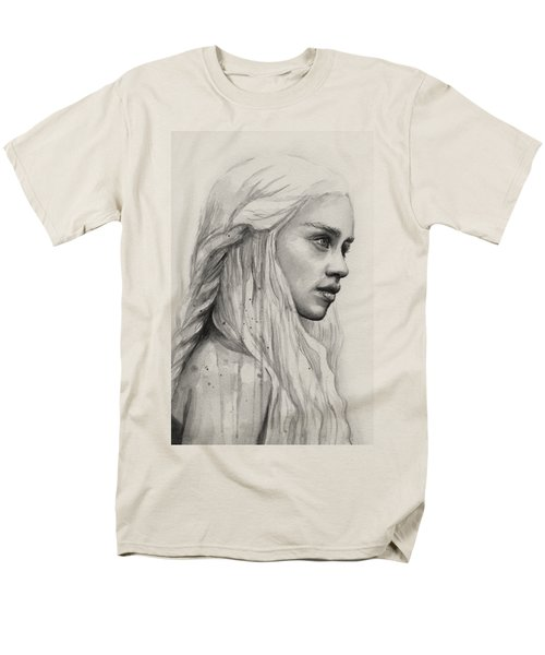 Daenerys Watercolor Portrait Men's T-Shirt  (Regular Fit) by Olga Shvartsur