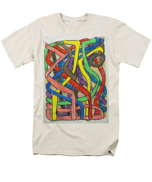 Men's T-Shirt  (Regular Fit) featuring the painting London Bus Routes by Mudiama Kammoh