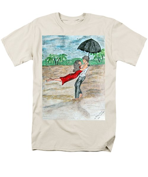 Men's T-Shirt  (Regular Fit) featuring the painting Dancing In The Rain On The Beach by Kathy Marrs Chandler