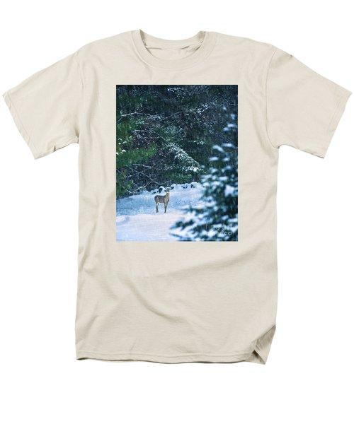 Deer In A Snowy Glade Men's T-Shirt  (Regular Fit) by Diane Diederich