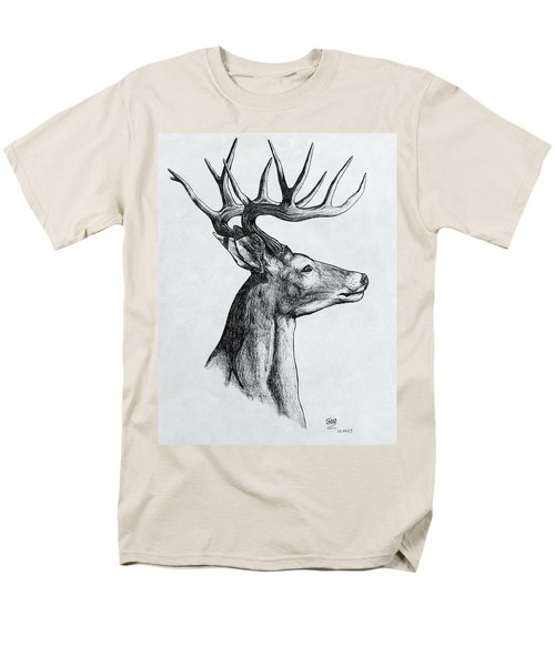 Men's T-Shirt  (Regular Fit) featuring the drawing Deer by Michael  TMAD Finney