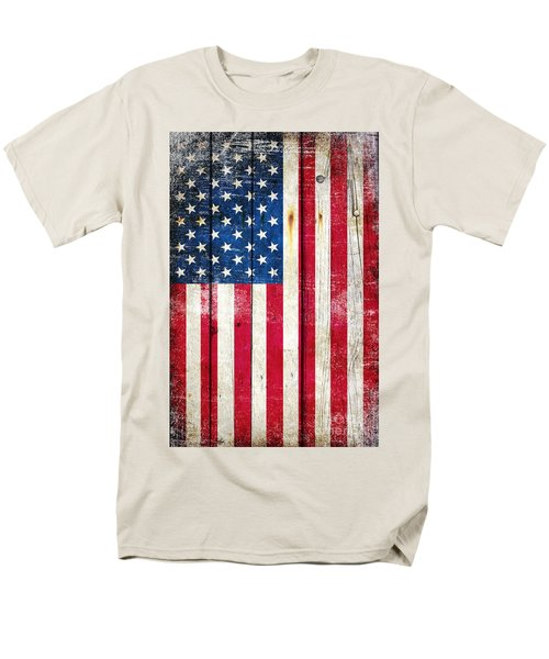 Distressed American Flag On Wood - Vertical Men's T-Shirt  (Regular Fit) by M L C