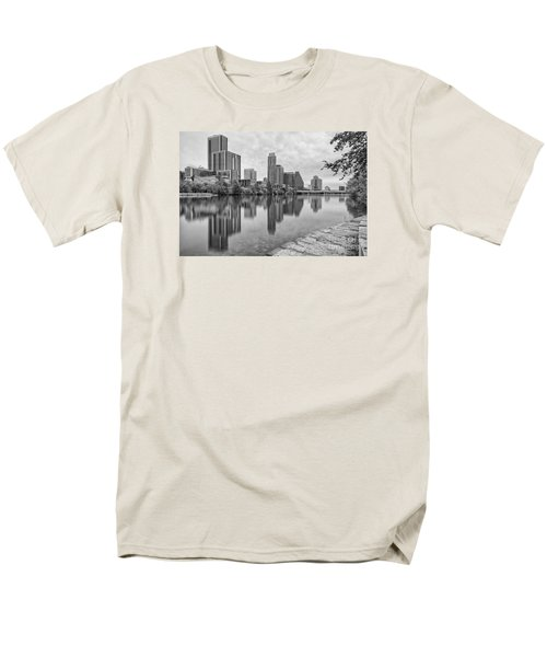 Downtown Austin In Black And White Across Lady Bird Lake - Colorado River Texas Hill Country Men's T-Shirt  (Regular Fit) by Silvio Ligutti