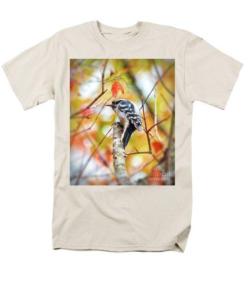 Downy Woodpecker In Autumn Forest Men's T-Shirt  (Regular Fit) by Kerri Farley