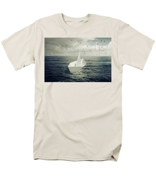 Men's T-Shirt  (Regular Fit) featuring the photograph Drifting Paper Boat by Carlos Caetano