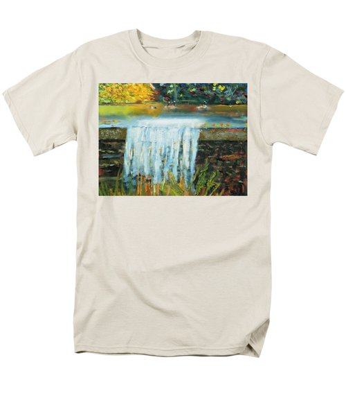 Men's T-Shirt  (Regular Fit) featuring the painting Ducks And Waterfall by Michael Daniels