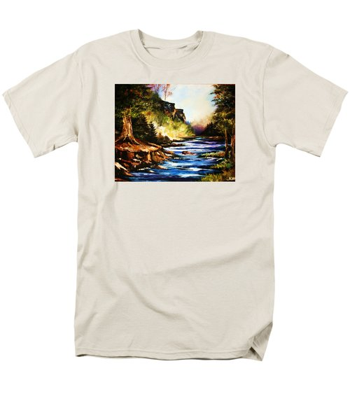 Men's T-Shirt  (Regular Fit) featuring the painting Early Dawn Campfire by Al Brown