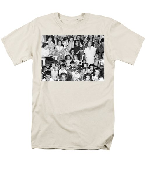 Eleanor Roosevelt And Children Men's T-Shirt  (Regular Fit) by Underwood Archives