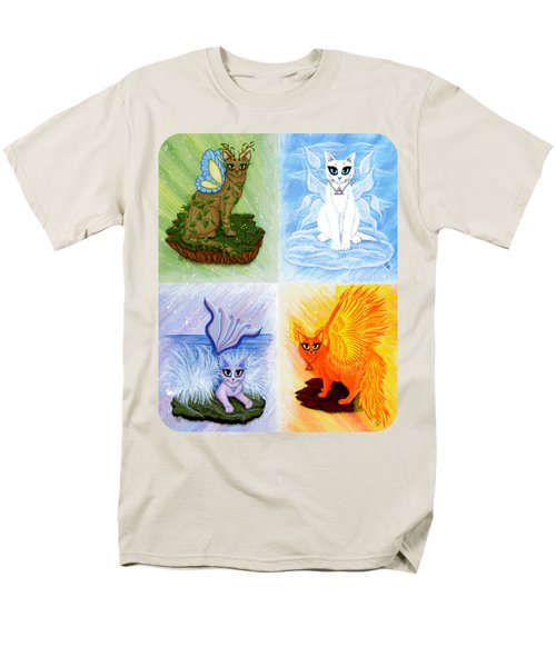Men's T-Shirt  (Regular Fit) featuring the painting Elemental Cats by Carrie Hawks