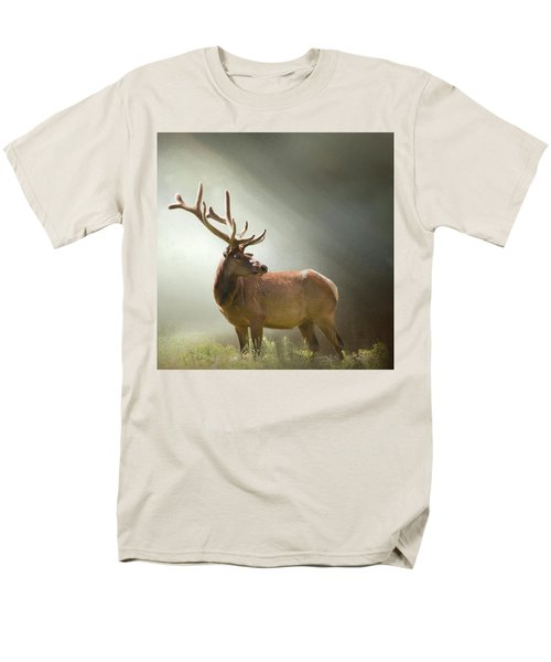 Men's T-Shirt  (Regular Fit) featuring the photograph Elk In Suns Rays by David and Carol Kelly