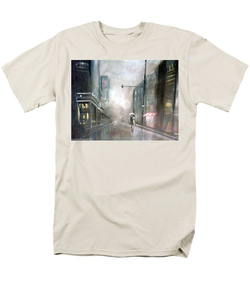 Men's T-Shirt  (Regular Fit) featuring the painting Evening Walk In The Rain by Raymond Doward